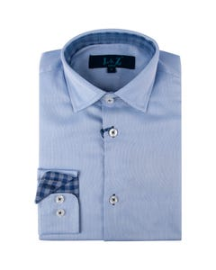 Leo & Zachary Boys Shirt Blue Check Cuff Trim Size 8-16 | Infant Boys Dresswear 5803 Blue