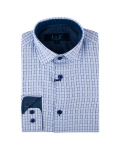 Leo & Zachary Boys Shirt Steel Blue Checkerboard Print Size 8-16 | Infant Boys Dresswear 5807 Check