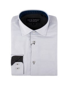Leo & Zachary Boys Shirt White Midnight Pin Dot Size 8-16 | Dresswear For Boys 5799 White