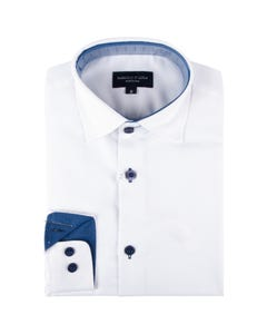 Leo & Zachary Boys Shirt White Navy Contrast Wrinkle Free Size 8-16 | Boys Dresswear 5819 White