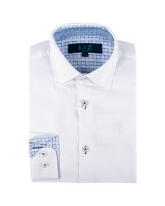 Leo & Zachary Boys Shirt White W-Blue Contrasts Wrinkle Free Size 8-16 | Infant Boys Dresswear 5810 White