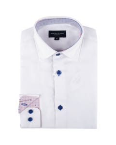 Leo & Zachary Boys Shirt White Royal Blue Contrast Wrinkle Free Size 8-16 | Dresswear For Boys 5820 White
