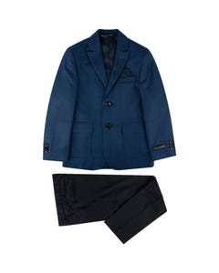 Leo & Zachary Boys 2Pc Blazer & Pant Blue & Navy Print & Navy Pant Size 6-16 | Dresswear For Boys 497 504 Navy