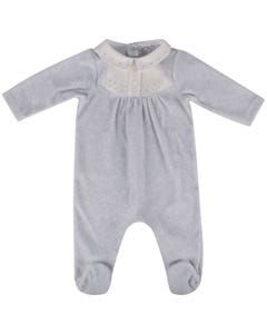 Patachou Boys Sleeper Grey Velour White Collar Star Print Size 3m-12m | Baby Sleepers 3133077 Grey