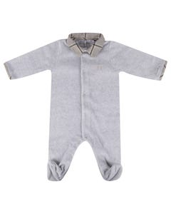 Patachou Boys Sleeper Grey Velour Check Collar Front Closure Size 3m-12m | Sleepers Kids 3133082 Grey