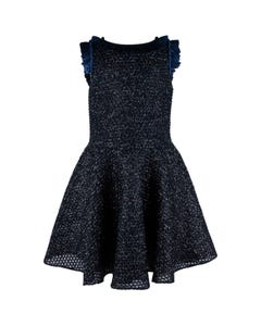 David Charles Girls Dress Navy Netting Silver Sparkle Ruffle Neckline Trim Size 7-18 | Baby Girl Dresses 5109A Navy