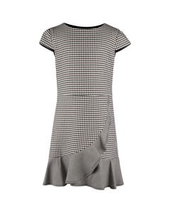 David Charles Girls Dress Black & White Herringbone Print Flounce Hem Size 7-18 | Girls Dresses 5124 Black