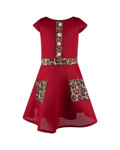 David Charles Girls Dress Wine Neoprene Cutout Leopard Pockets & Trim & Pearl Buttons Size 7-18 | Kids Dress For Girls 5131E Red