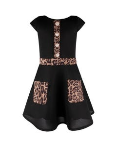 David Charles Girls Dress Black Neoprene Cutout Leopard Pockets & Trim & Pearl Buttons Size 7-18 | Kids Dress For Girls 5131F Black