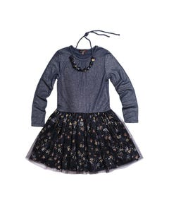 Imoga Girls Dress & Necklace Navy Floral Pleated & Sparkly Tulle Overlay Size 2-10 | Girls Dresses SAMANTHA Navy