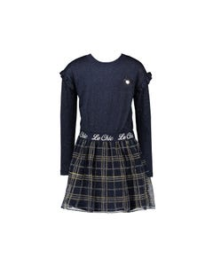 Le Chic Girls Dress Navy Glitter Check Tulle Skirt Le Chic Logo Waistband Size 2-10 | Girls Designer Dresses 5870 Navy