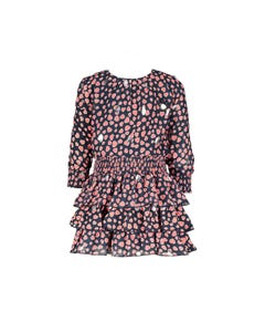 Le Chic Girls Dress Navy Pink Hearts Print 3 Flounces Elastic Waist Size 9m-18m | Girls Dresses 7801 Navy