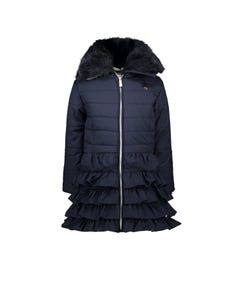 Le Chic Girls Coat Navy Ruffle Removable Fur Collar-Hooded Size 2-10 | Girls Coats 5207 Navy