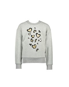 Le Chic Girls Sweat Top Grey Gold Sequins Heart Applique Size 2-10   Girls Sweater Dress 5341 Grey