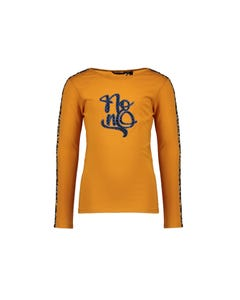 NoNo Girls T Shirt Gold Navy Nono Embroidery & Leopard Stripe Size 6-14 | Shirts For Girls 5407 Gold