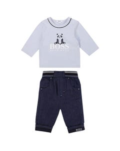 Hugo Boss Boys 2 Pc Top & Jean Blue Bear Print Elastic Waist Size 3m-18m | Two Piece Sets For Babies 94259 95293 Blue