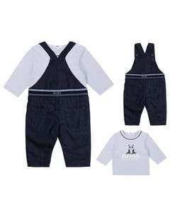 Hugo Boss Boys 2 Pc Overall & Top Denim & Blue Size 3m-18m | Two Piece Outfits For Babies 94260 95293 Denim