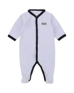 Hugo Boss Boys Sleeper Blue Velour Navy Trim Front Closure Size 1m-12m | Baby Sleeper Gowns 97163 Blue