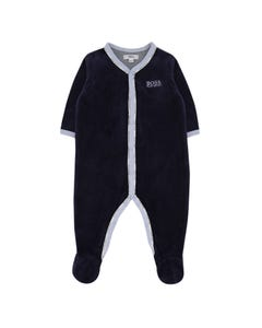 Hugo Boss Boys Sleeper Navy Velour Blue Trim Front Closure Size 1m-12m | Toddler Sleepers 97163 Navy