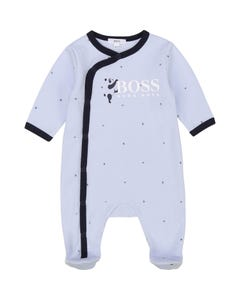 Hugo Boss Boys Sleeper Blue Navy Trim Side Closure B & H Print Size 1m-9m | Sleepers Kids 97164 Blue