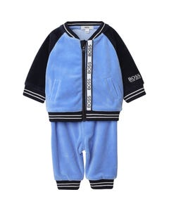 Hugo Boss Boys 2 Pc Tracksuit Blue & Navy Velour Front Pockets Size 3m-18m | Two Piece Sets For Babies 98289 Blue