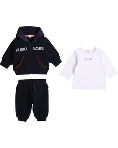 Hugo Boss Boys 3 Pc Cardigan & Top Track Suit Navy & White Size 3m-18m | 2 Piece Sets For Babies 98290 Navy