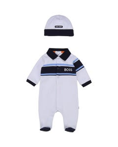 Hugo Boss Boys 2 Pc Sleeper & Hat Polo Blue & Navy Trim Front Closure Size 1m-12m | Sleepers Kids 98291 Blue