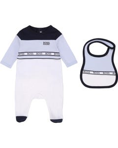 Hugo Boss Boys 2 Pc Sleeper & Bib Set Blue White & Navy Boss Embroidery Logo Size 1m-12m | Baby Sleeper Suits 98292 Blue