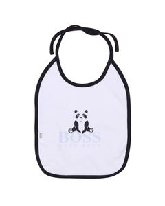 Hugo Boss Boys Bib White Navy Trim Panda Bear Print Size OS | Baby Bibs 98298 White