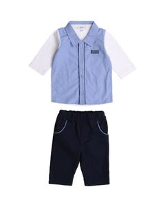 Hugo Boss Boys 2 Pc Shirt & Pant Blue White Sleeves Navy Pant Size 3m-18m | Two Piece Outfits For Babies 98304 Blue