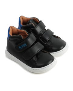 Hugo Boss Boys Shoes Black Blue Trim High Cut 2 Velcro Closure Size 19-30 | Shoes For Infants J09136 Black
