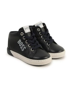 Hugo Boss Boys Shoe Navy White Logo Side Zipper & Laces High Cut Size 19-30 | Baby Shoes J09142 Navy