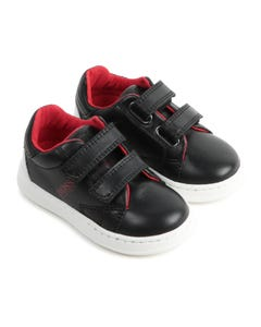 Hugo Boss Boys Shoe Black Red Logo Trim 2 Velcro Straps Size 20-30 | Infant Shoes J09J31 Black