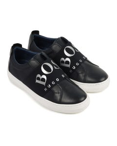 Hugo Boss Boys Shoe Navy Silver Logo Elastic Band Size 27-40 | Boys Trainers J29227 Navy