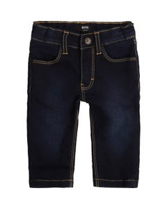 Hugo Boss Boys Denim Pant Dark Slim Fit Yellow Stitch Size 6m-3 | Baby Shorts 4384 Denim