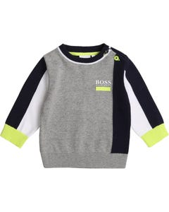 Hugo Boss Boys Pullover Sweater Grey Blue Navy Size 6m-3 | Infant Sweaters 5812 Grey