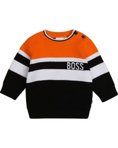 Hugo Boss Boys Pullover Sweater Orange White Black Size 9m-3 | Baby Sweaters 5813 Orange