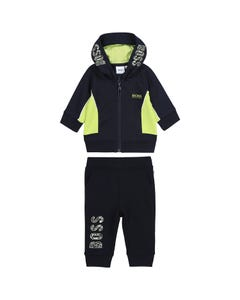 Hugo Boss Boys 2 Pc Track Suit Navy Hooded Green Trim Size 12m-3 | Baby Two Piece Dresses 5823 4380 Navy