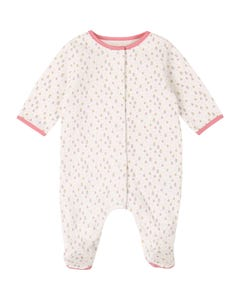 Carrement Beau Girls Sleeper White - Flower Print Front Closure Organic Cotton Size 1m-9m | Toddler Sleepers 97097 White