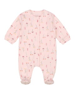 Carrement Beau Girls Sleeper Peach Flower Print Front Closure Organic Cotton Size 1m-9m | Baby Sleepers 97109 Pink