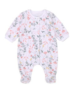 Carrement Beau Girls Sleeper White Velour Green & Peach Print Front Closure Organic Cotton Size 1m-9m | Baby Sleeper Gowns 97112 White
