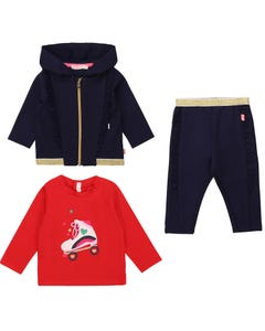Billieblush Girls 3 Pc Cardigan Top Pant Set Navy Hooded Red Top Gold Trim Size 3m-3 | 2 Piece Sets For Babies 5326 Navy