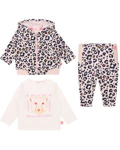 Billieblush Girls 3 Pc Cardigan Top Pant Lpink Leopard Print Hooded White Top Size 3m-3 | Baby Co Ord Sets 5327 Pink