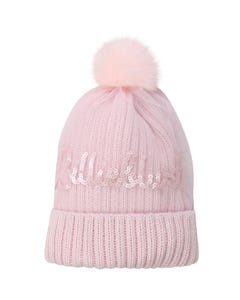 Billieblush Girls Hat Pink Knit Sequin Logo Tulle & Pompom Size T1-T2 | Infant Girl Hats 11074 Pink
