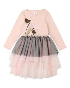 Billieblush Girls Dress Pink & Black Tulle Layers Sequin Hearts Size 2-12 | Kids Dress For Girls 12612 Pink