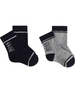 Hugo Boss Boys 2 Pk Socks Grey & Navy Boss Logo Size 17-25 | Boys Dress Socks 88 Navy