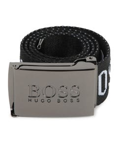 Hugo Boss Boys Belt Black Casual White Boss Logo Size 60-90 | Toddler Belts 20267 Black