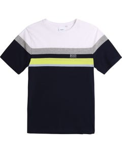 Hugo Boss Boys Tshirt Navy Multi Color.Stripe Short Sleeve Size 4-16 | Boys Designer Shirts 25G28 Navy