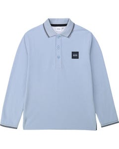 Hugo Boss Boys Polo Top Pale Blue Long Sleeve Navy Trim Size 4-16 | Polo Shirts For Toddlers 25G47 Blue