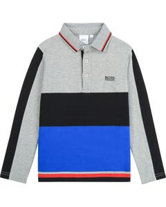 POLO TOP GREY BLACK BLUE LONG SLEEVE